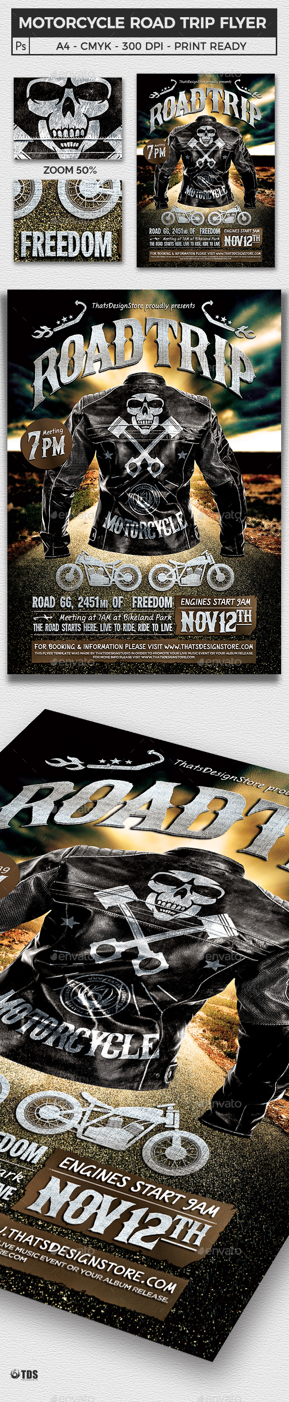 Motorcycle Road Trip Flyer Template V1 - Miscellaneous Events