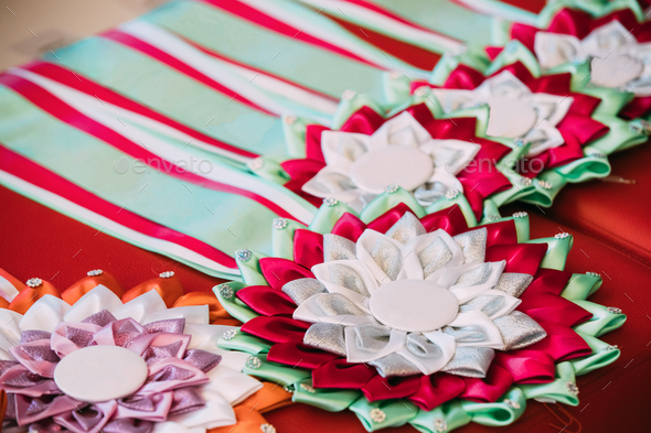 Ribbon Awards Badges For Winners In Competition - Stock Photo - Images