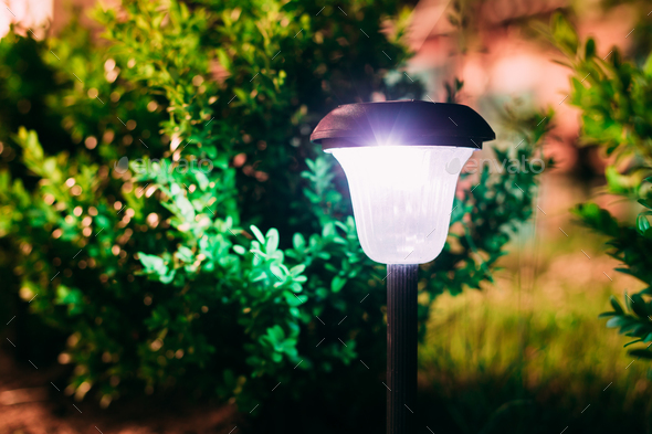 Close View Of Limelighted Energy-Saving Solar Powered Lantern Gl - Stock Photo - Images