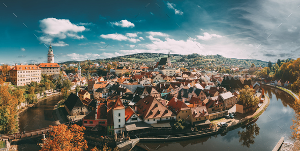 Panorama Of Cesky Krumlov Cityscape, Czech Republic. Sunny Autum - Stock Photo - Images