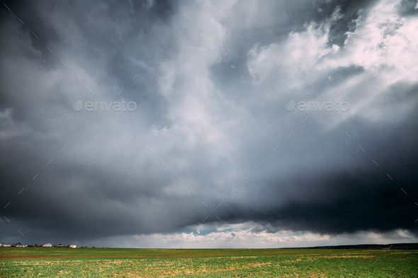 Countryside Rural Field Spring Meadow Landscape Under Scenic Dra - Stock Photo - Images
