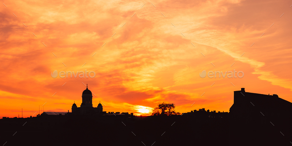 Helsinki, Finland. Dark Silhouette Of Cityscape In Backlit At Su - Stock Photo - Images