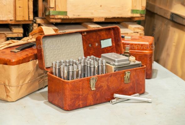 Set of the retro Soviet individual personal dosimeters - Stock Photo - Images