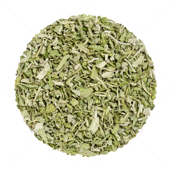 Dried sage, herb circle from above, over white - Stock Photo - Images
