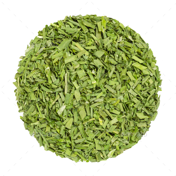 Dried chives, herb circle from above, over white - Stock Photo - Images