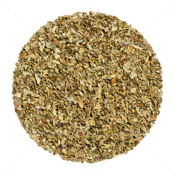 Dried basil, herb circle from above, over white - Stock Photo - Images