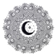 Ornate Mandala Crescent Moon, Star Shape