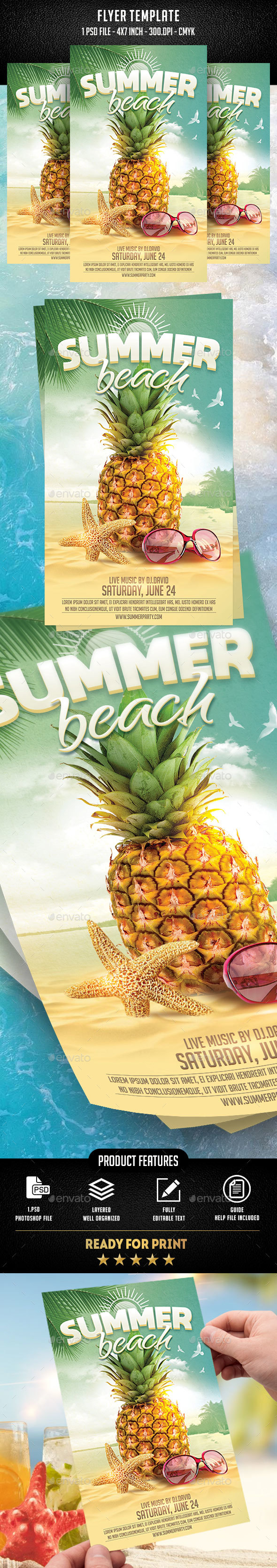 Summer Beach Flyer Template - Flyers Print Templates