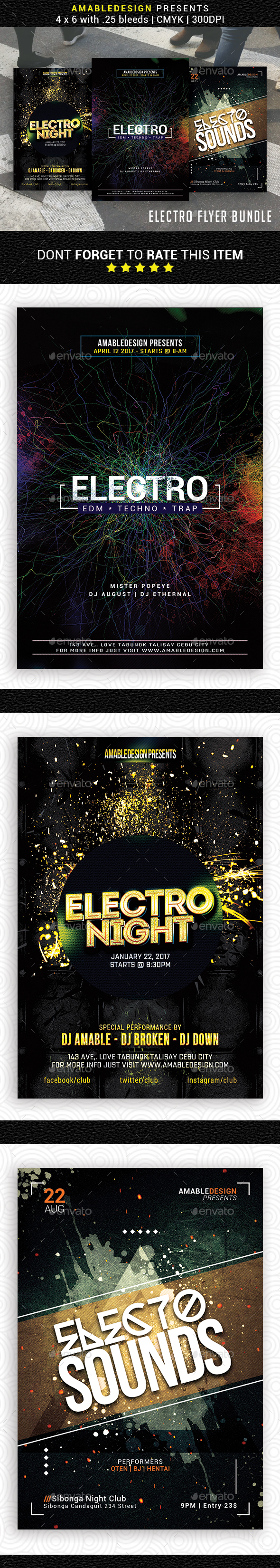 3 in 1 Electro Flyer/Poster Bundle - Events Flyers