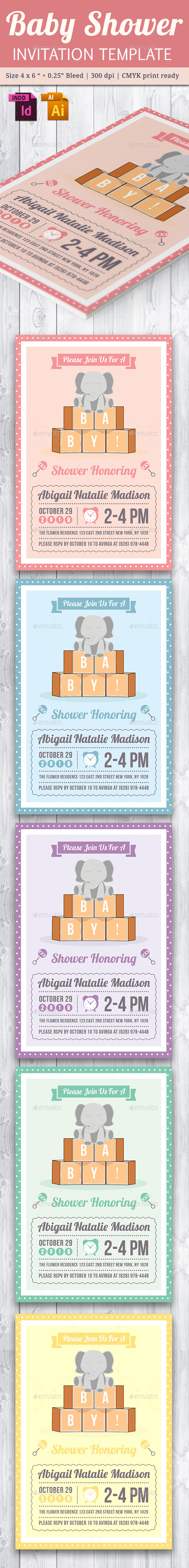 Baby Shower Template - Vol. 22 - Cards & Invites Print Templates
