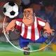 Cartoon Soccer Player Hits the Ball