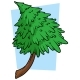 Cartoon Green Fir Tree on Blue Background