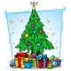 Cartoon Christmas Tree with Balls and Gift Boxes