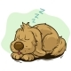 Cartoon Sleeping Dog Showing Tongue
