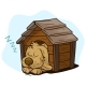 Cartoon Sleeping Dog in Wooden Kennel - GraphicRiver Item for Sale