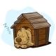 Cartoon Sleeping Dog in Wooden Kennel
