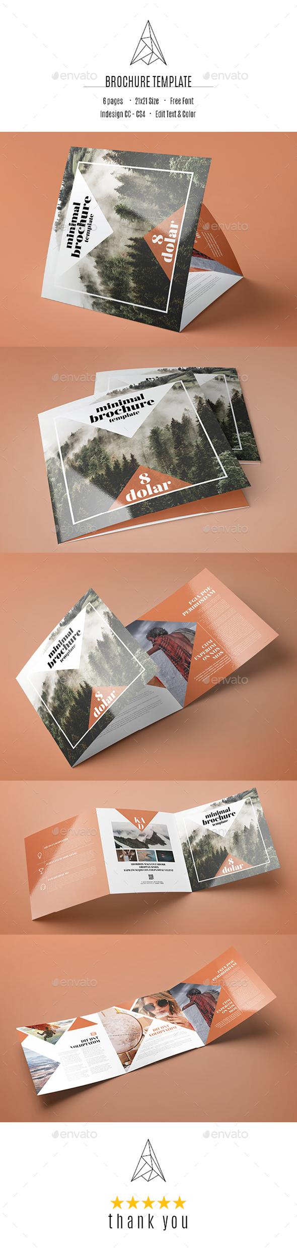 Minimal Square Tri-Fold Brochure Template - Brochures Print Templates