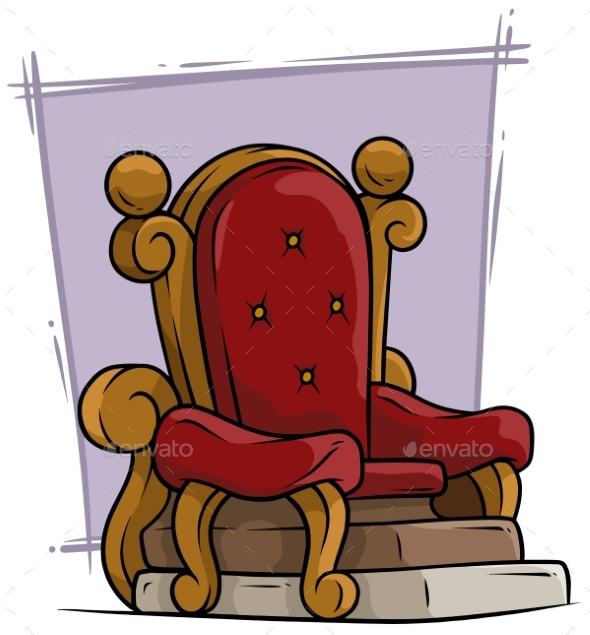 Cartoon Wooden Red Vintage Throne Royal Armchair - Man-made Objects Objects