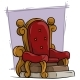 Cartoon Wooden Red Vintage Throne Royal Armchair