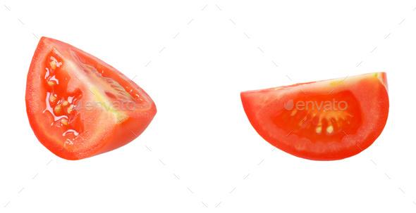 two tomato quarters - Stock Photo - Images