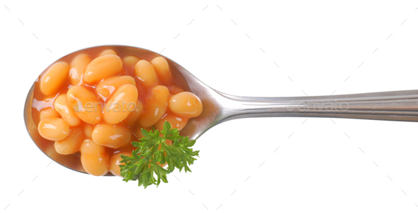 spoon of of beans in tomato sauce - Stock Photo - Images
