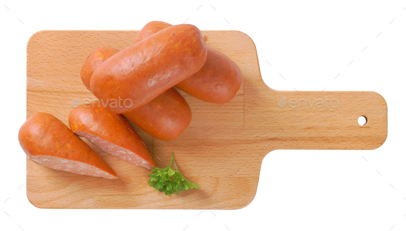 short thick sausages - Stock Photo - Images