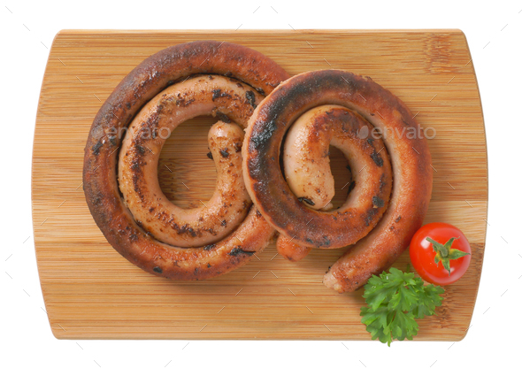 pan fried white wine pork sausages - Stock Photo - Images