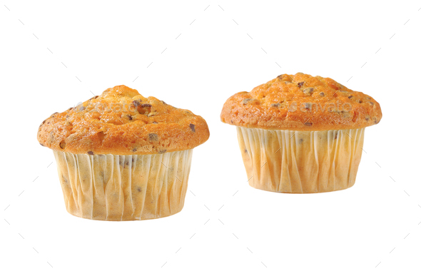 Vanilla muffins with fine chocolate flakes - Stock Photo - Images