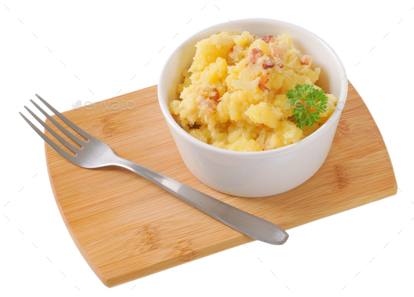 crushed potatoes with bacon - Stock Photo - Images