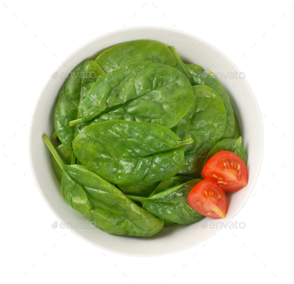 bowl of fresh spinach - Stock Photo - Images