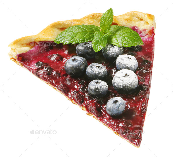 French cuisine - Quark and blueberry tart - Stock Photo - Images