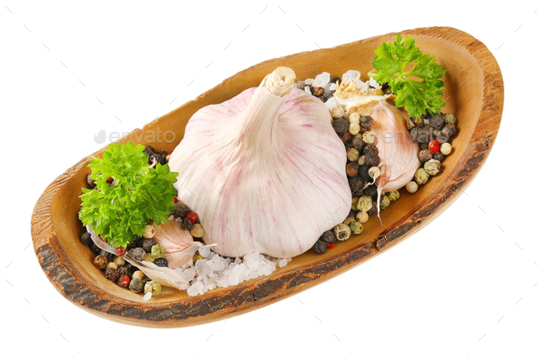 fresh garlic with spices - Stock Photo - Images