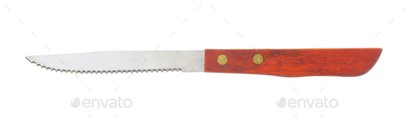 kitchen knife with serrated blade and wooden handle - Stock Photo - Images