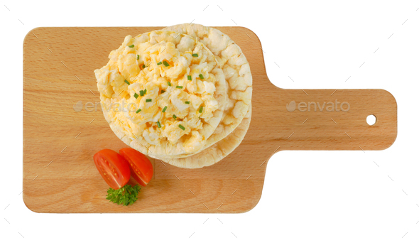 rice bread with scrambled eggs - Stock Photo - Images