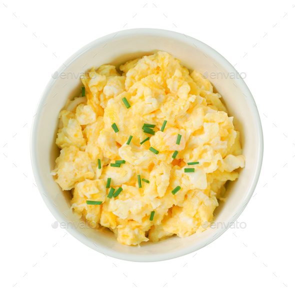 bowl of scrambled eggs - Stock Photo - Images