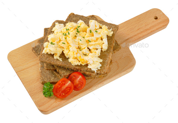 fitness bread with scrambled eggs - Stock Photo - Images