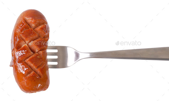 short thick sausage on fork - Stock Photo - Images