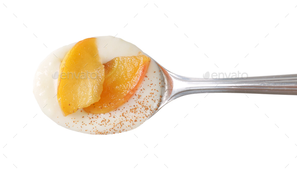 spoon of semolina pudding - Stock Photo - Images