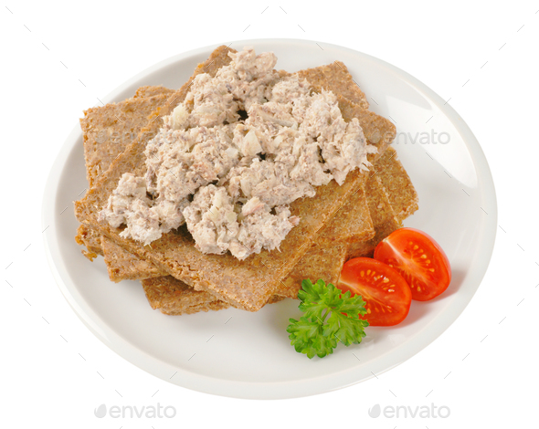 fitness bread with fish spread - Stock Photo - Images