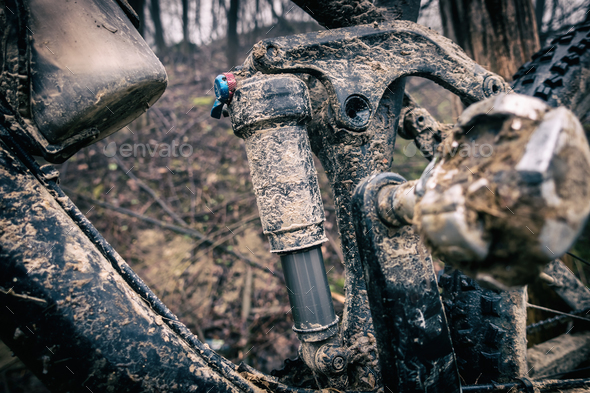 Mountain biking, dirty and broken bicycle closeup - Stock Photo - Images