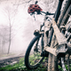 Mountain bike and helmet in autumn woods, dirty bicycle - PhotoDune Item for Sale