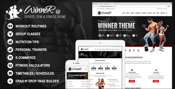Winner - Sports, Gym & Fitness WordPress Theme - Health & Beauty Retail