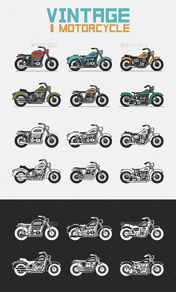 Set of Vintage Motorcycles - Retro Technology