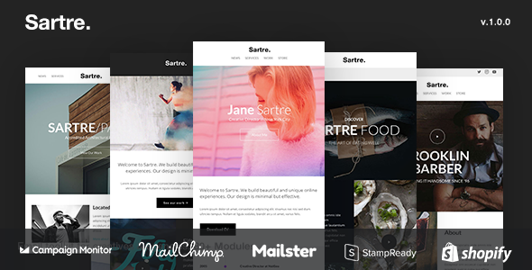 Sartre – Responsive Email Toolkit: 120+ Sections + Online Builder + MailChimp + Mailster + Shopify