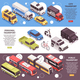 Transport Horizontal Isometric Banners