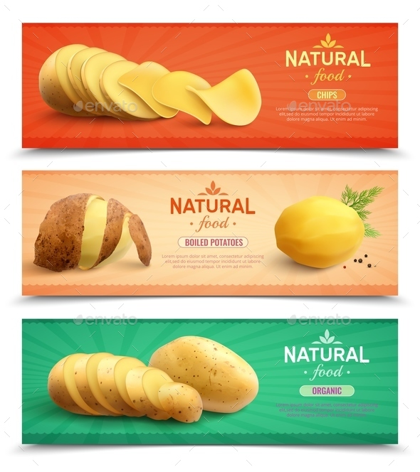 Natural Food Realistic Horizontal Banners - Food Objects