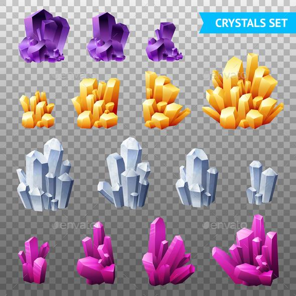 Realistic Crystals Transparent Set - Miscellaneous Vectors