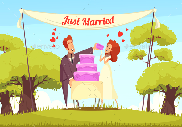 Just Married Cartoon Illustration - Weddings Seasons/Holidays