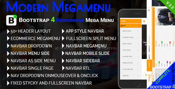 Modern Megamenu - Bootstrap 4 Responsive Mega Menu