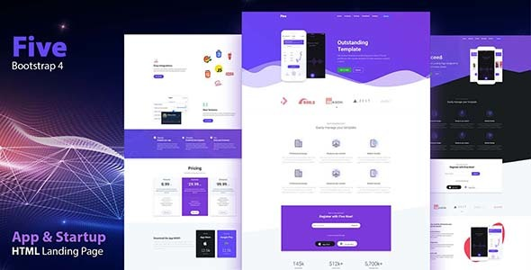 Image of FIVE - HTML App Landing Page